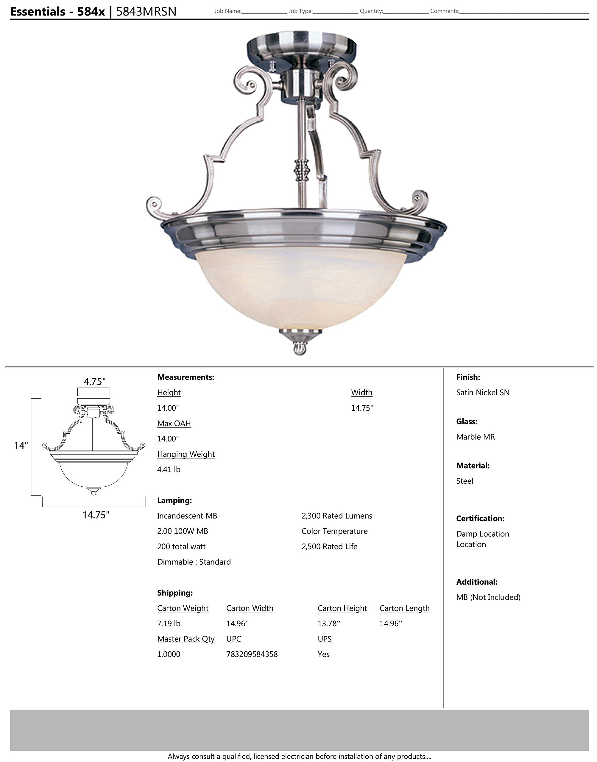 Maxim 5843MRSN Essentials 2-Light Semi-Flush Mount, Satin Nickel Finish, Marble Glass, MB Incandescent Incandescent Bulb , 50W Max., Dry Safety Rating, Standard Dimmable, Metal Shade Material, 550 Rated Lumens by Maxim Lighting (Image #2)