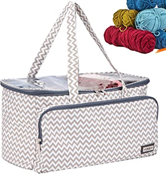 HOMEST Yarn Storage Bag with Clear Top, Portable Knitting Tote for Yarn Skeins, Crochet Hooks, Knitting Needles(up to 16 inches), with 3 Oversized Grommets, Ripple