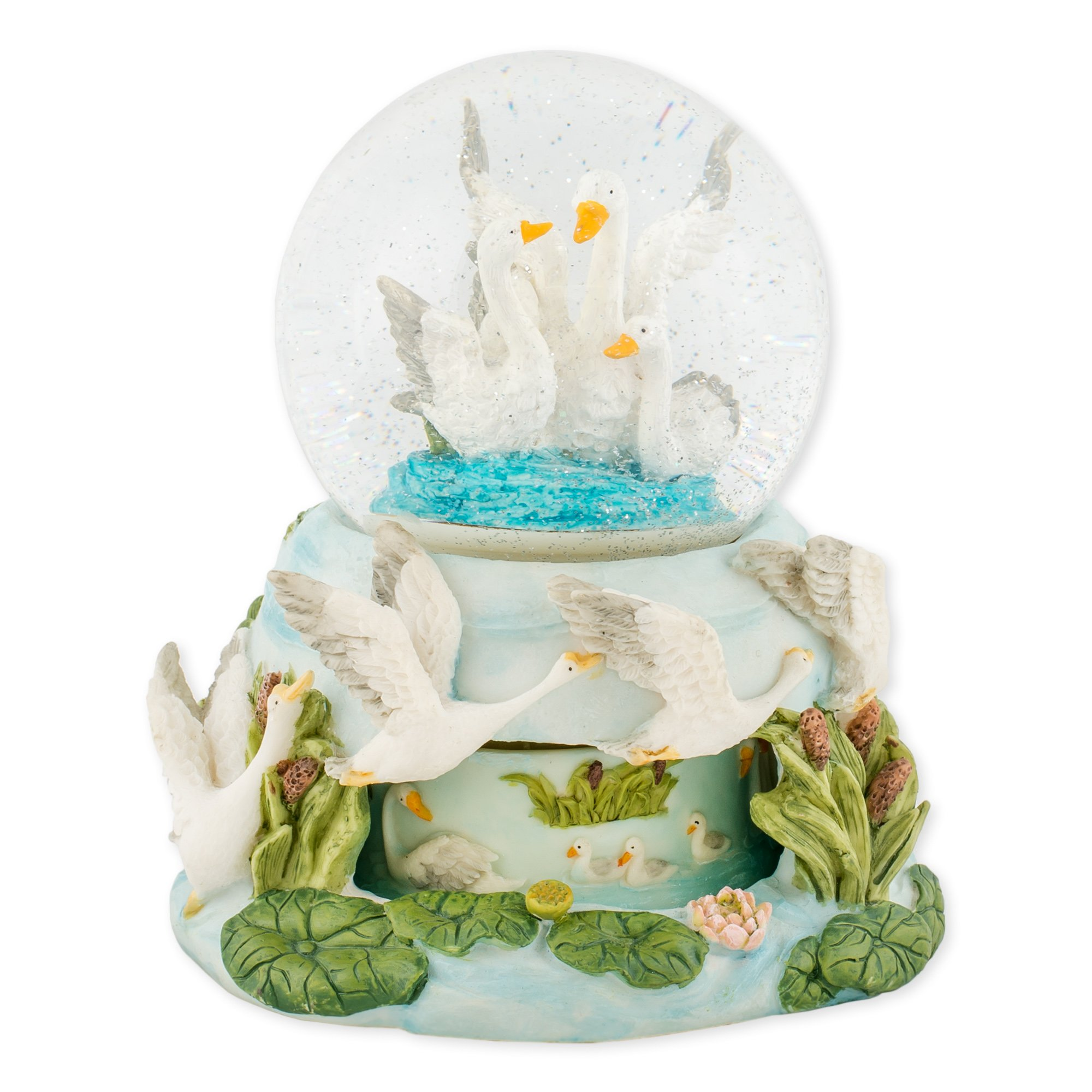 Swimming Swans Family Love 100mm Resin Water Globe Plays Tune Swan Lake