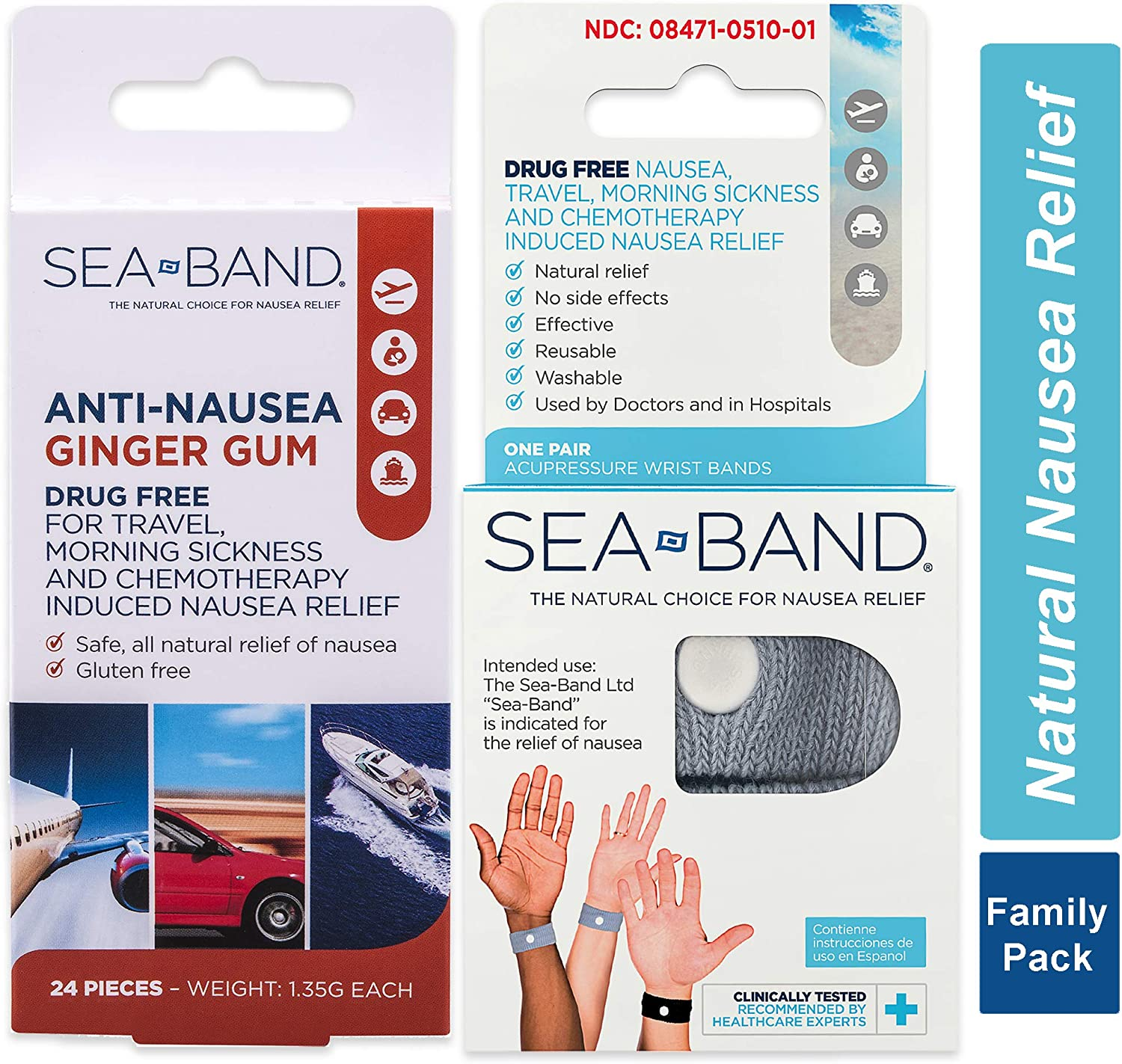 Colors May Vary Sea-Band Adult Wristband Natural Nausea Relief 1 Pair Anti-Nausea Acupressure Wristband for Travel or Morning Sickness