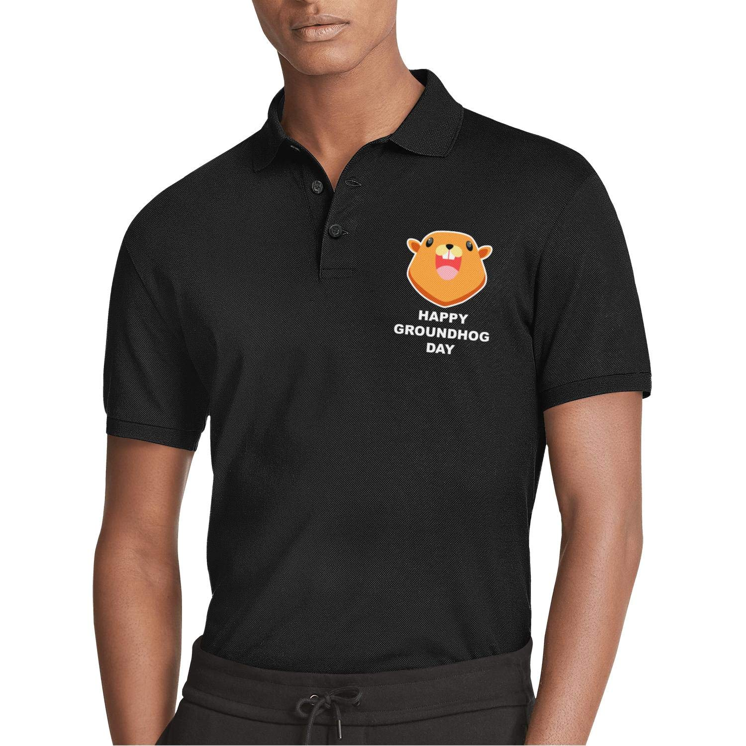 AIKYAN Happy Groundhog Day Cartoon face Printed Mens Polo Shirt Slim Fit GolfShirt