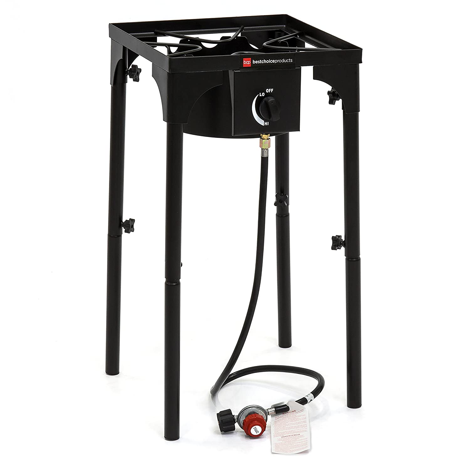 Best Choice Products 100,000 BTU Outdoor Portable Propane Gas High Pressure Single Burner Cooker Stove w/Removable Legs