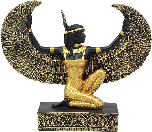 "Egyptian Kneeling Goddess Maat With Open Wings Figurine 8.5/""Long Decor Sculpture"