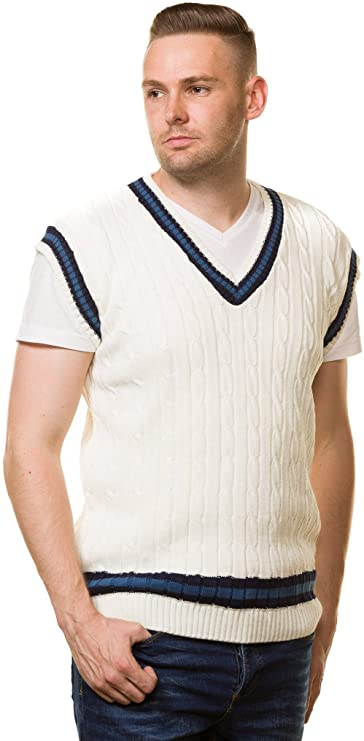 1920s Style Mens Vests Bay eCom UK Mens Cricket Jumper V Neck Sleeveless Casual wear Cable Knitted Tank top S to XL £10.99 AT vintagedancer.com