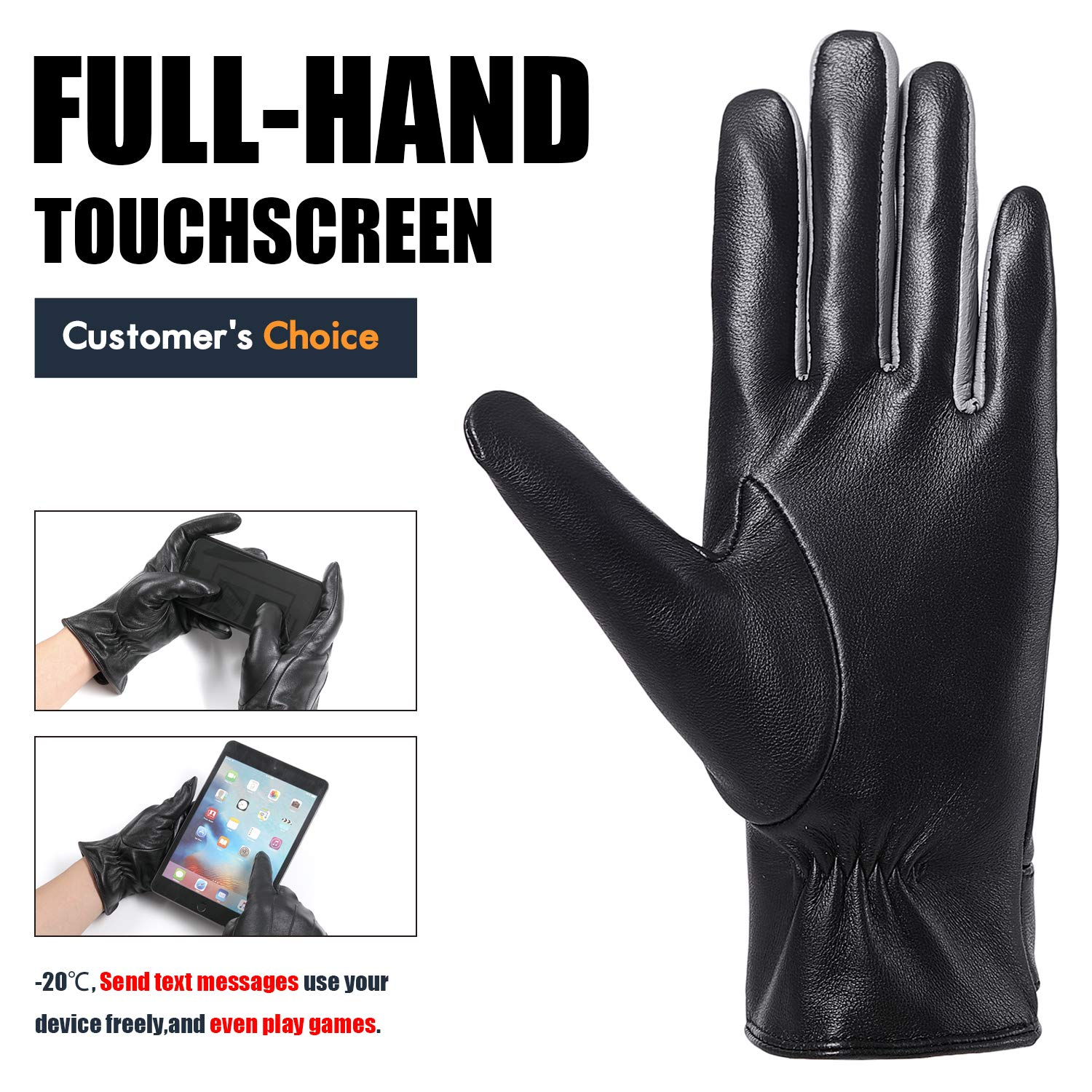 Winter Driving Leather Gloves for Women Full Touchscreen Gifts Box Warm Texting Cold Weather Brown Gloves S