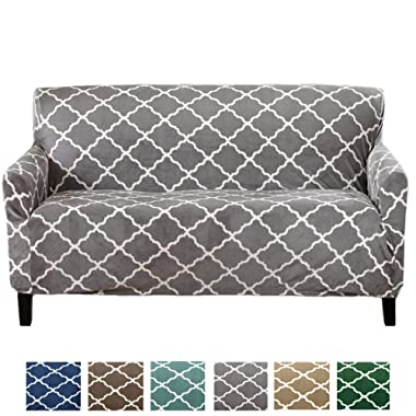 Great Bay Home Modern Velvet Plush Strapless Slipcover. Form Fit Stretch, Stylish Furniture Shield/Protector. Magnolia Collection Strapless Slipcover Brand. (Sofa, Grey)
