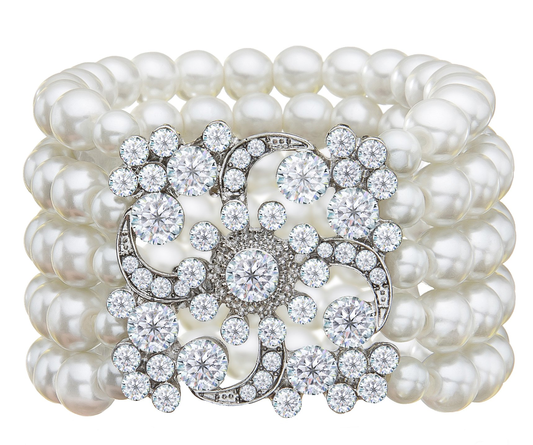 Zking Art Deco The Great Gatsby 5 Rows Faux Pearl Elastic Bracelet Bangle