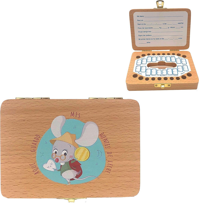 Caja + Almohada Caja de madera para guardar los dientes de leche El Ratoncito P/érez