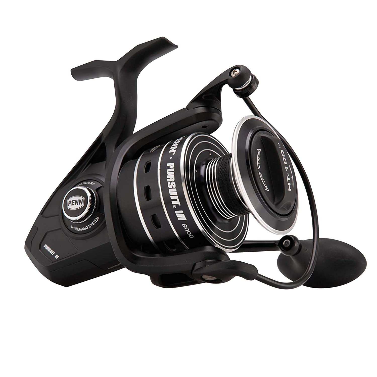 Penn Pursuit III Spinning Fishing Reel, Black Silver, 8000