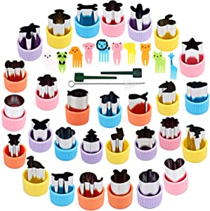 BakingWorld Vegetable Cutter Shapes Set,Stainless Steel Mini Fruit and Cookie Stamps Mold for Kids Baking and Food Supplement Tools Accessories(29Pcs)