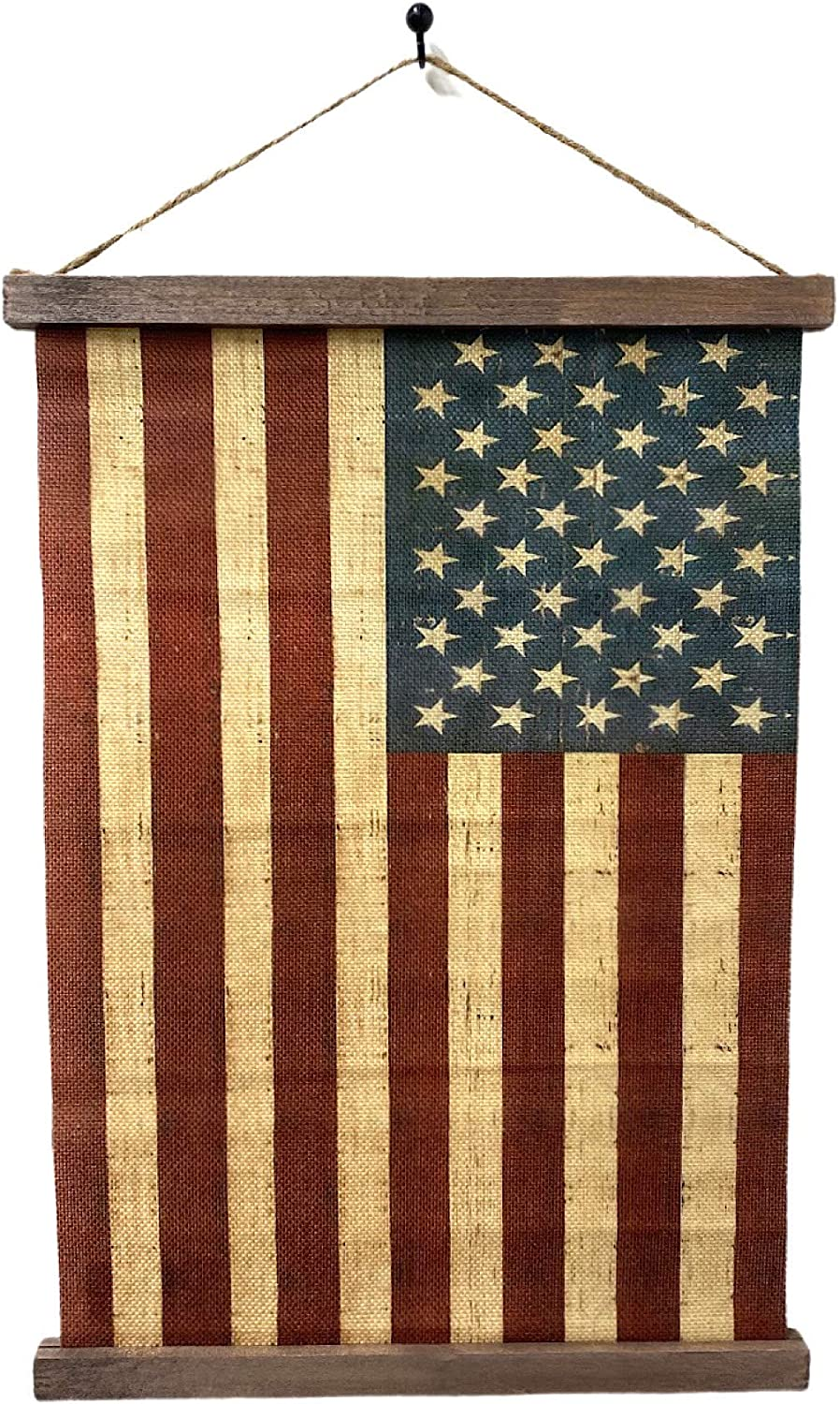 THE NIFTY NOOK Vintage Old Glory American Flag Canvas Wall Art Farmhouse Decor 16x12 Inch (American Flag Hanging Canvas)