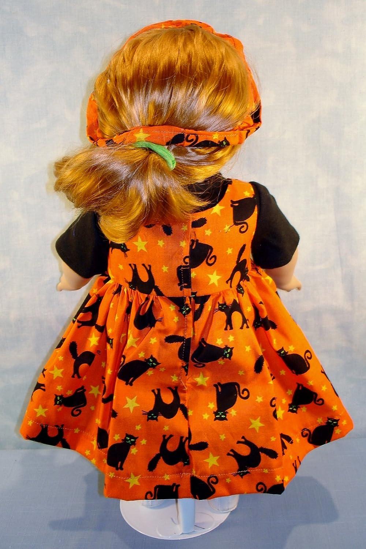 Black Cats on Orange Jumper Set handmade by Jane Ellen to fit 18 inch dolls 18 Inch Doll Clothes