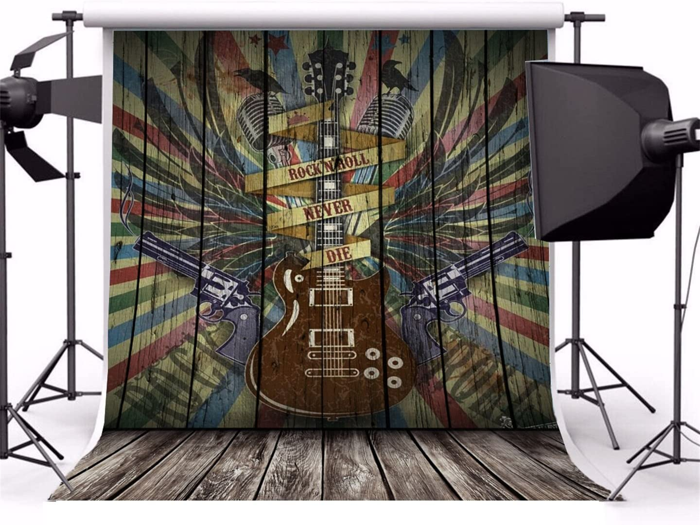 Guitar 10x15 FT Backdrop Photographers,Music Inspired Illustration Floral Pattern Bird Retro Style Instrument Nature Background for Baby Birthday Party Wedding Vinyl Studio Props Photography