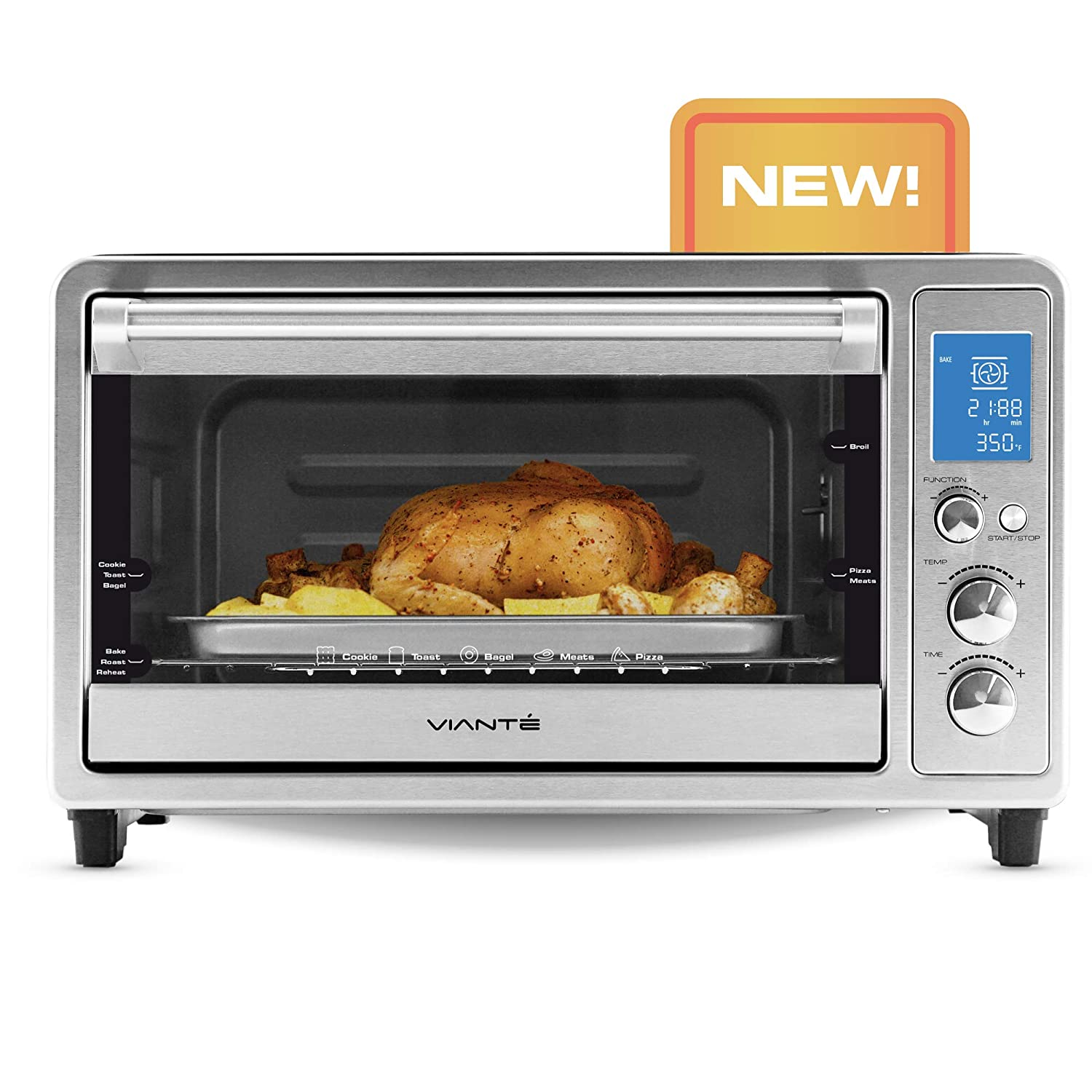 Viante Digital Convection Toaster Oven | Bakes, Broils, Toasts, Defrosts, Cooks Pizza, Bakes Cookies, Keeps Food Warm | Rottisserie Feature | Brushes Stainless Steel Body | Digital Control and LCD Screen