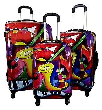 Amazon.com: Dejuno Saxaphone Hard Rolling 4 Wheel Spinner Luggage ...