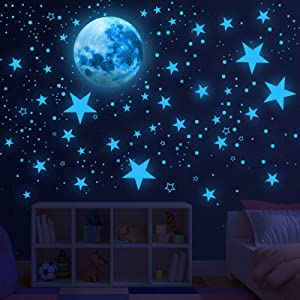 Glow in The Dark Stars for Ceiling,Glow in The Dark Stars and Moon Wall Decals, 1000 Pcs Ceiling Stars Glow in The Dark Kids Wall Decors, Perfect for Kids Nursery Bedroom Living Room