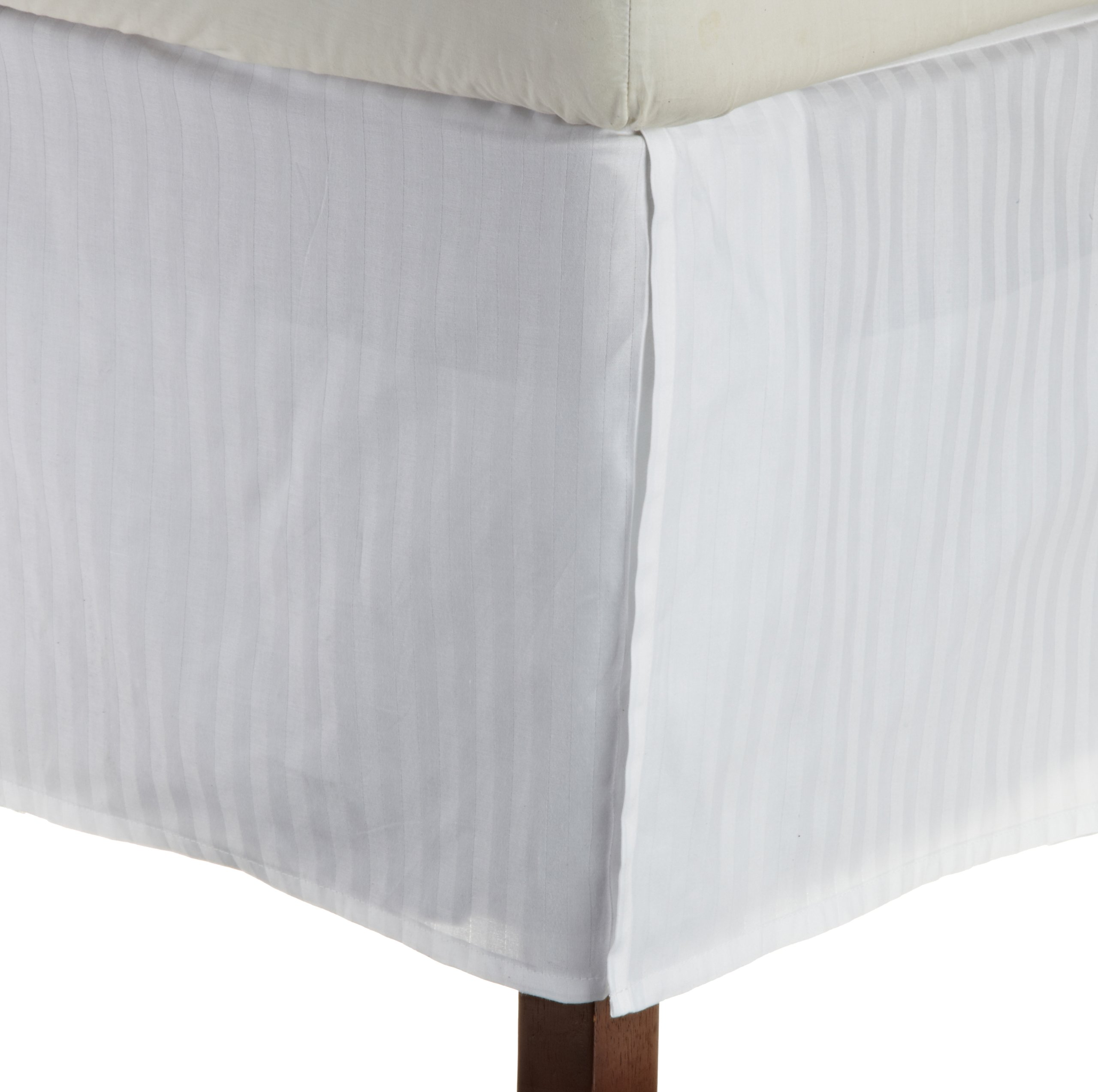 Superior 1500 Series 100% Microfiber Pleated King Bed Skirt Stripe, White - 15 Inch Drop and Wrinkle Resistant