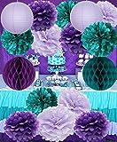 Mermaid Party Supplies/16pcs Mermaid Party Decorations Teal Purple Lavender Tissue Pom Pom Paper Lantens Honeycomb Ballls Frozen Theme Party Supplies Teal Mermaid Baby Shower Decorations