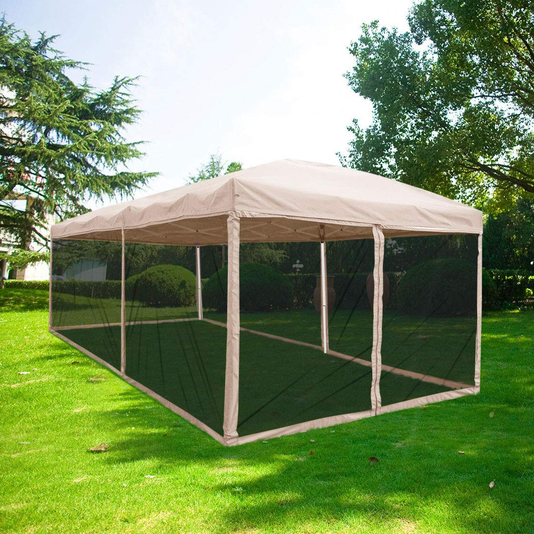 Quictent 10x20 Easy Pop up Canopy Tent Screen House with Netting Mesh Sides Walls(Tan) by Quictent