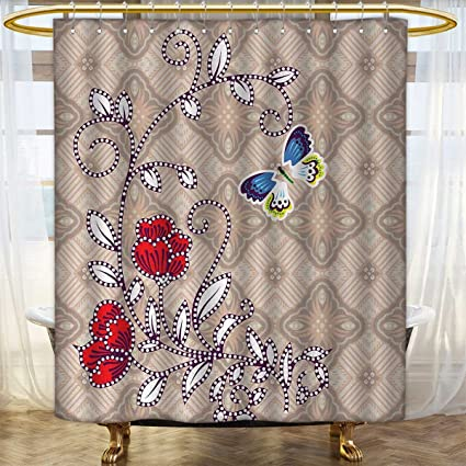 Anhounine Batik Shower Curtains Mildew Resistant Flower Body With Curved Branch And Butterflies On Retro Background