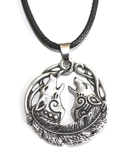Halskette Wolf Und Wölfe Heulen Den Mond Mondvergrößerung Wikinger