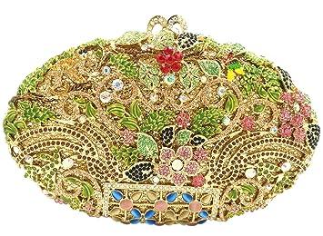Partido Bolso Mujer Noche Bolsas Nupcial Carteras Brillo Mano Cristales Cadena Embrague Flores Dorado: Amazon.es: Equipaje