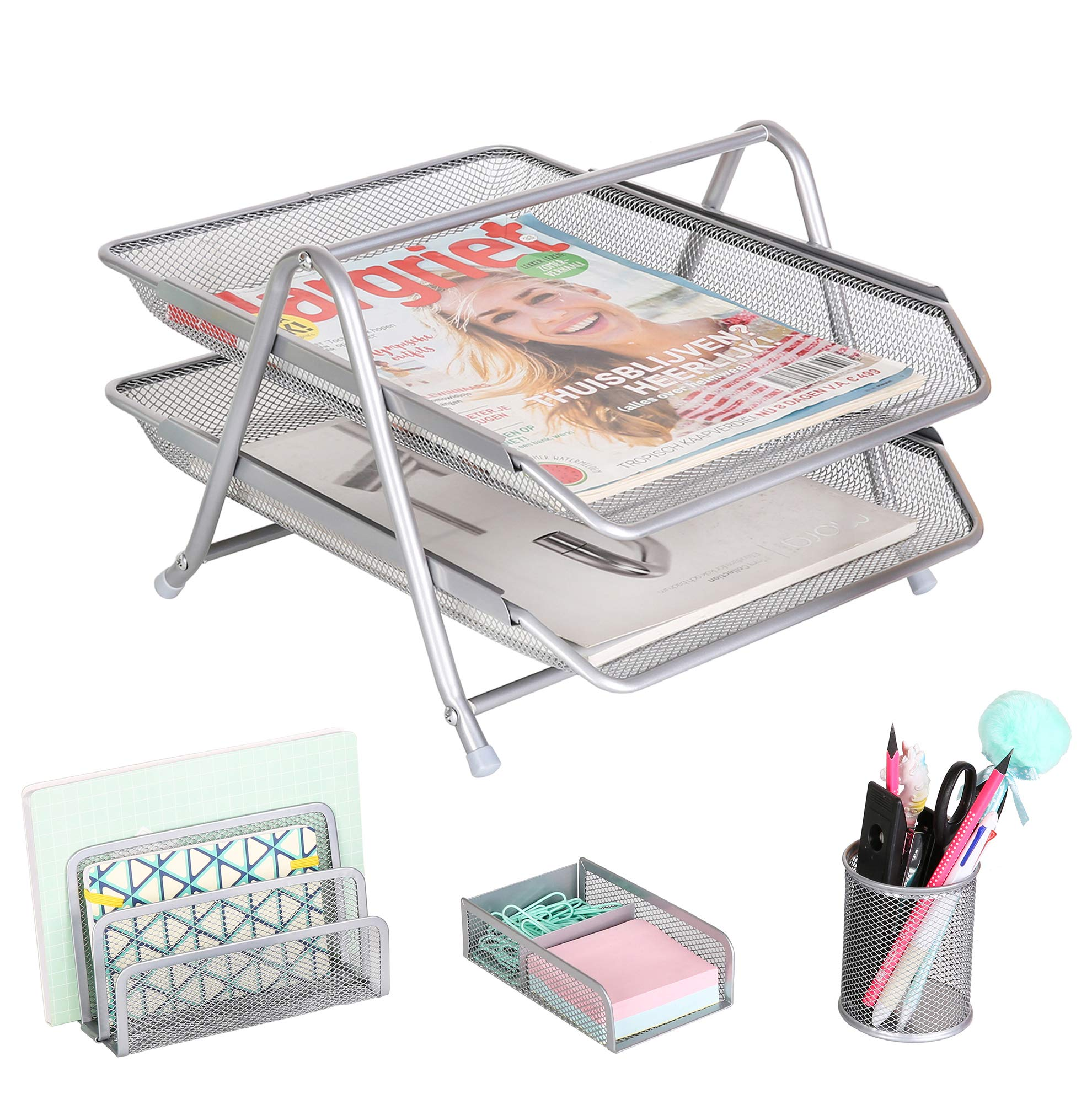 Exerz Premium Desk Organizers Mesh Office Set Accessories 4 PCS - 2 Tier Sliding Letter Tray/Filing/Paper Tray, Letter Rack, Pen Pot, Clips & Memo Pad Holder (EX2480 Silver) by Exerz