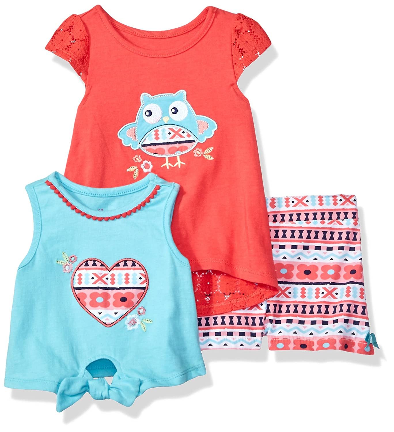Nannette Baby Girls 3 Piece Knit Tops and Printed Woven Short Set