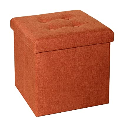 Amazoncom Seville Classics Foldable Tufted Storage Ottoman Burnt