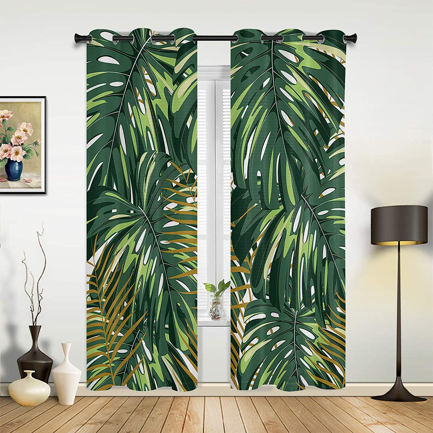 Beauty Decor Window Sheer Curtains for Bedroom Living Room Tropical Plant Monstera Leaves Green Elegant Window Drapes Grommet Top Airy Window Treatment Set of 2 Panels- 40''x84''