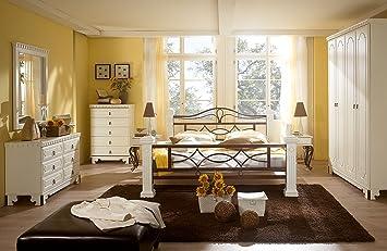 massivum Byzanz Schlafzimmer Set, Holz, weiß, 60 x 163 x 220 ...