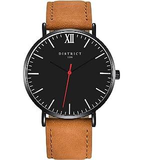 17090bbc094 DISTRICT London Rouge Edition Mens Genuine Leather Brown Band Quartz Wrist  Watch…