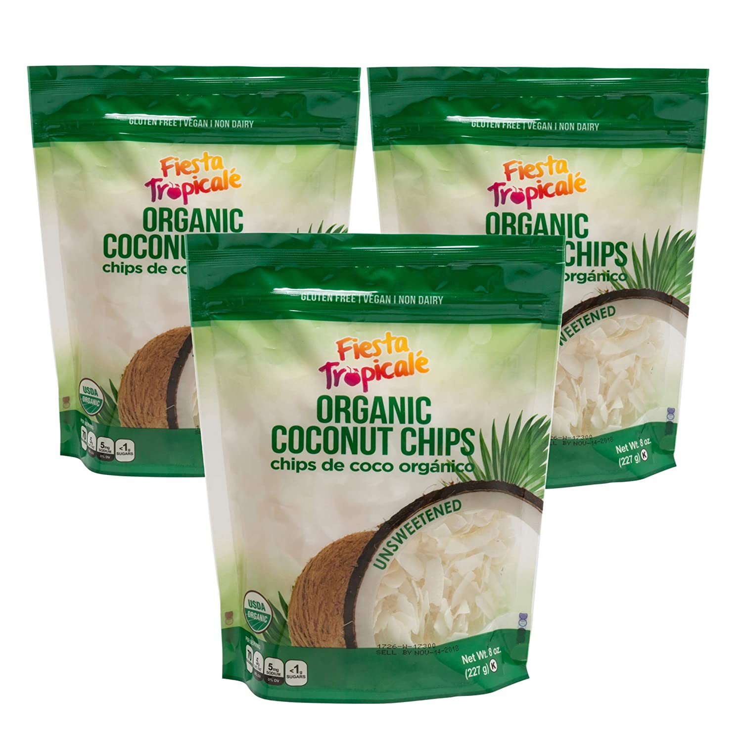 Shredded Large Coconut Flakes (Coconut Chips) Organic Keto Unsweetened 8 Ounce Bag (Pack of 3) Gluten Free Sugar Free Great Toasted for Vegan Paleo Snacks Trail Mix Granola by Fiesta Tropicale