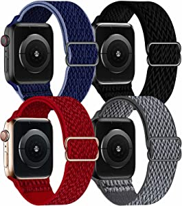 OHCBOOGIE 4 Pack Nylon Solo Loop Compatible with Apple Watch Bands,Stretch Adjustable Soft Sport Breathable Straps for Iwatch Series 6/5/4/3/2/1/SE,Black/Storm Gray/Midnight Blue Black/Red,38/40mm