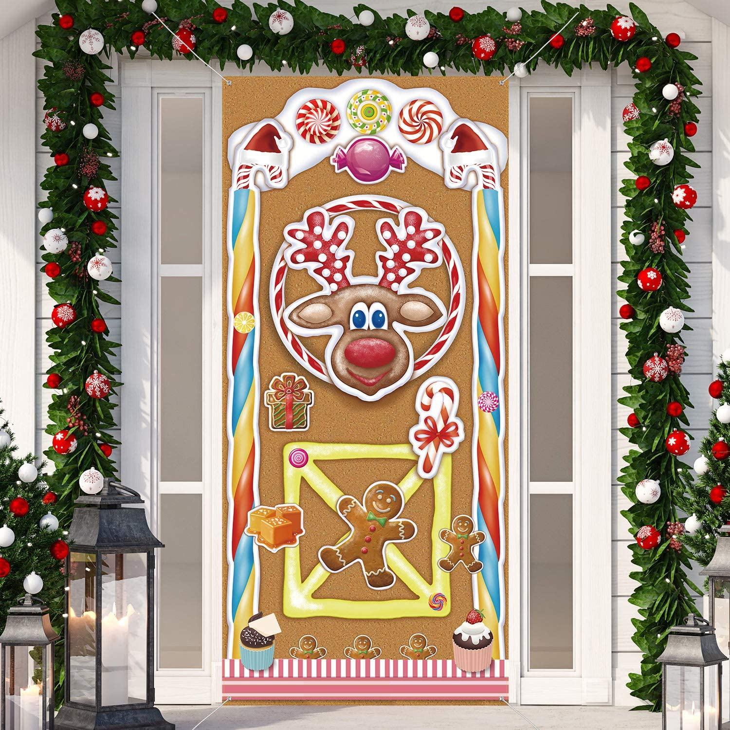 Christmas Decorations, Large Fabric Colorful Gingerbread House Door Cover, Gingerbread House Door Banner Christmas Door Cover for Holiday Winter Christmas Party Theme Supplies