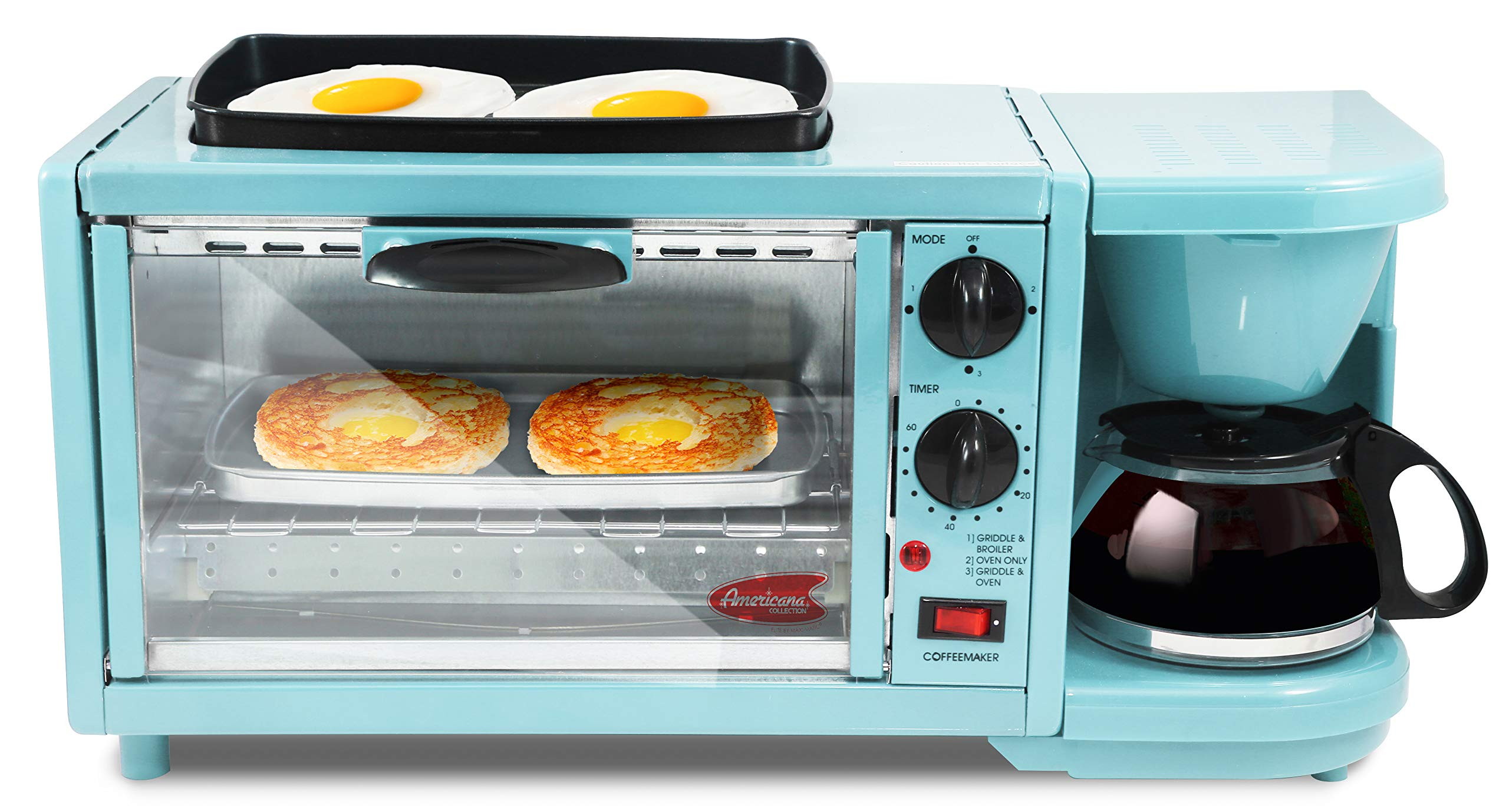 EBK-300BL Maxi-Matic 3-in-1 Multifunction Breakfast Center W/ Toaster Oven, Griddle & Coffee Maker, Blue by Maxi-Matic