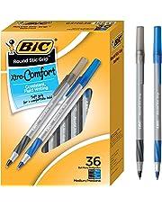 BIC Round Stic Grip Xtra Comfort Ballpoint Pen, Medium Point (1.2mm), Black and Blue, 36-Count