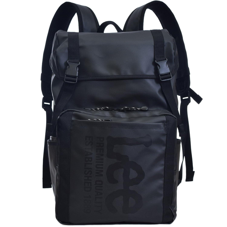 (リー) Lee ロゴプリント バックパック 18l メンズ レディース 男女兼用 フラップカバーリュック Lee-0421056 B076VH4SQ4  ブラック