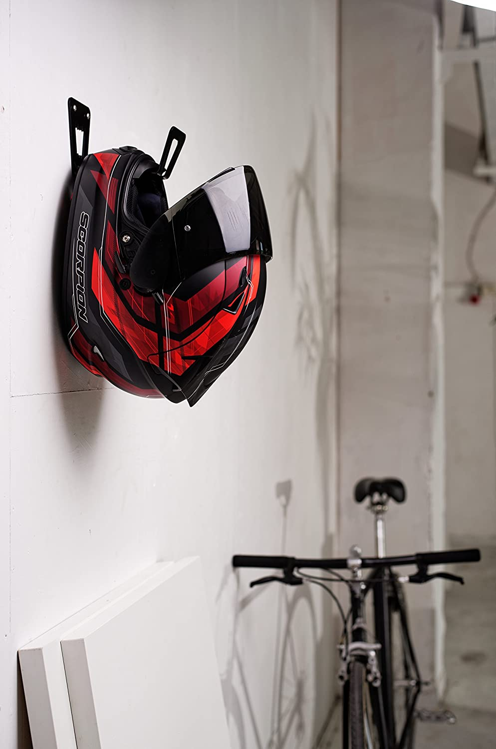 Black BESTUNT Motorcycle Helmet Holder Shelf Hanger Storage Rack Mount on Wall Accessories