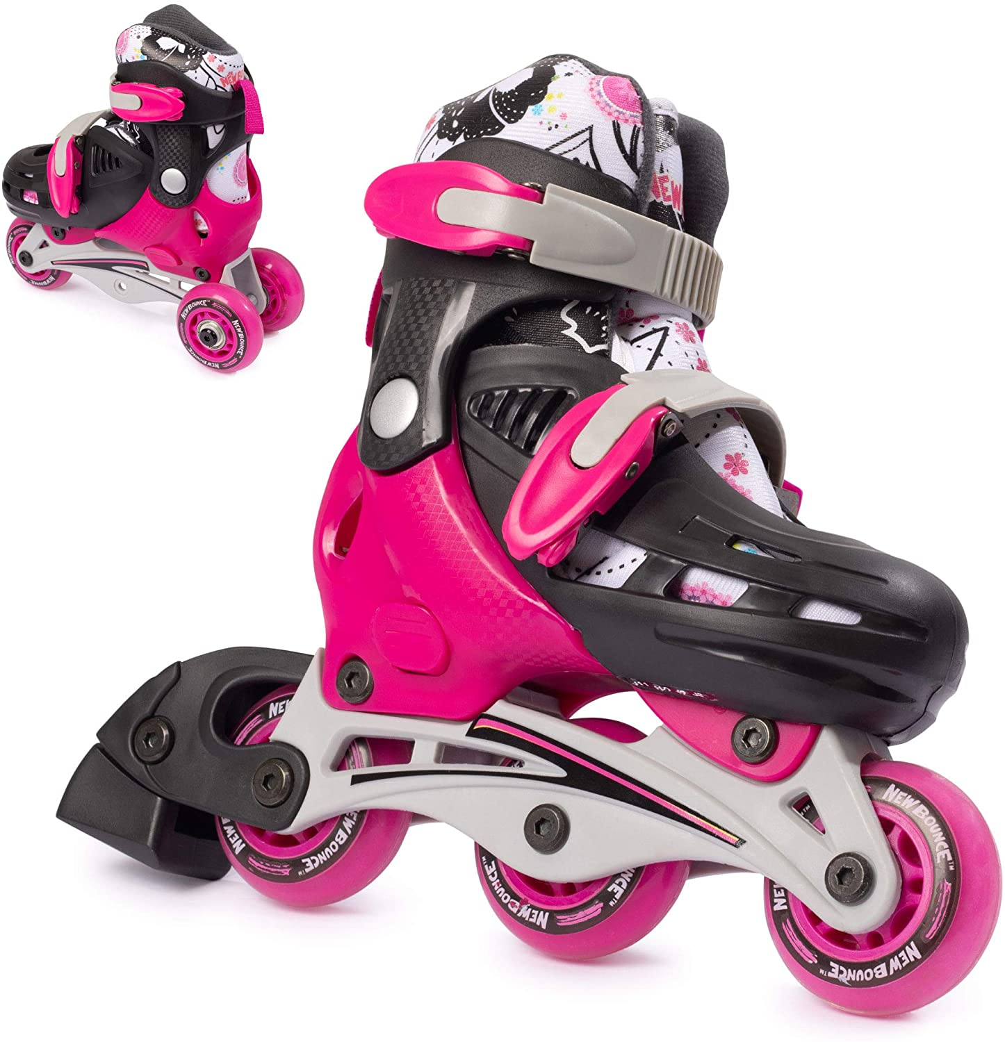 New Bounce Roller Skates for Little Kids - Shoe Size EU 24-28, US Kids 8-11, 2-in-1 Roller Skates for Girls, Converts from Tri-Wheel to Inline Skates - Outdoor Rollerskates for Beginners | Pink
