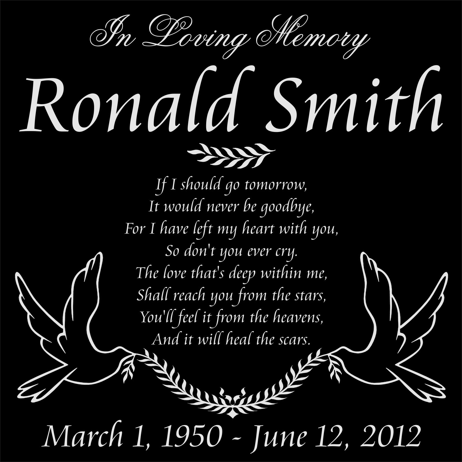 Customized Personalized Doves of Peace Personal Memorial 12x12 Inch Engraved Granite Grave Marker Headstone RS1