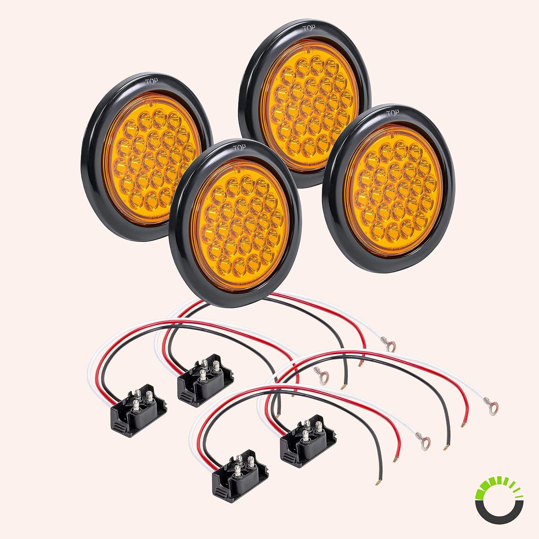 R SAE Trailer Lights for Boat Trailer RV Trucks IP67 Waterproof 24 LED Back Up Signal Grommet /& Plug Included 4 White Round LED Reverse Trailer Tail Light DOT FMVSS 108 2