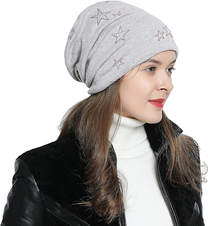 DonDon Damen Slouch Winter M/ütze Beanie gef/üttert mit Stern Print