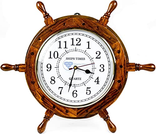 Nagina International Nautical Moon Light Blue Large Wooden Ship Wheel with Ship s Time Captain s Clock – Pirate Home Decorative Clock 18 Inches, White Dial Face