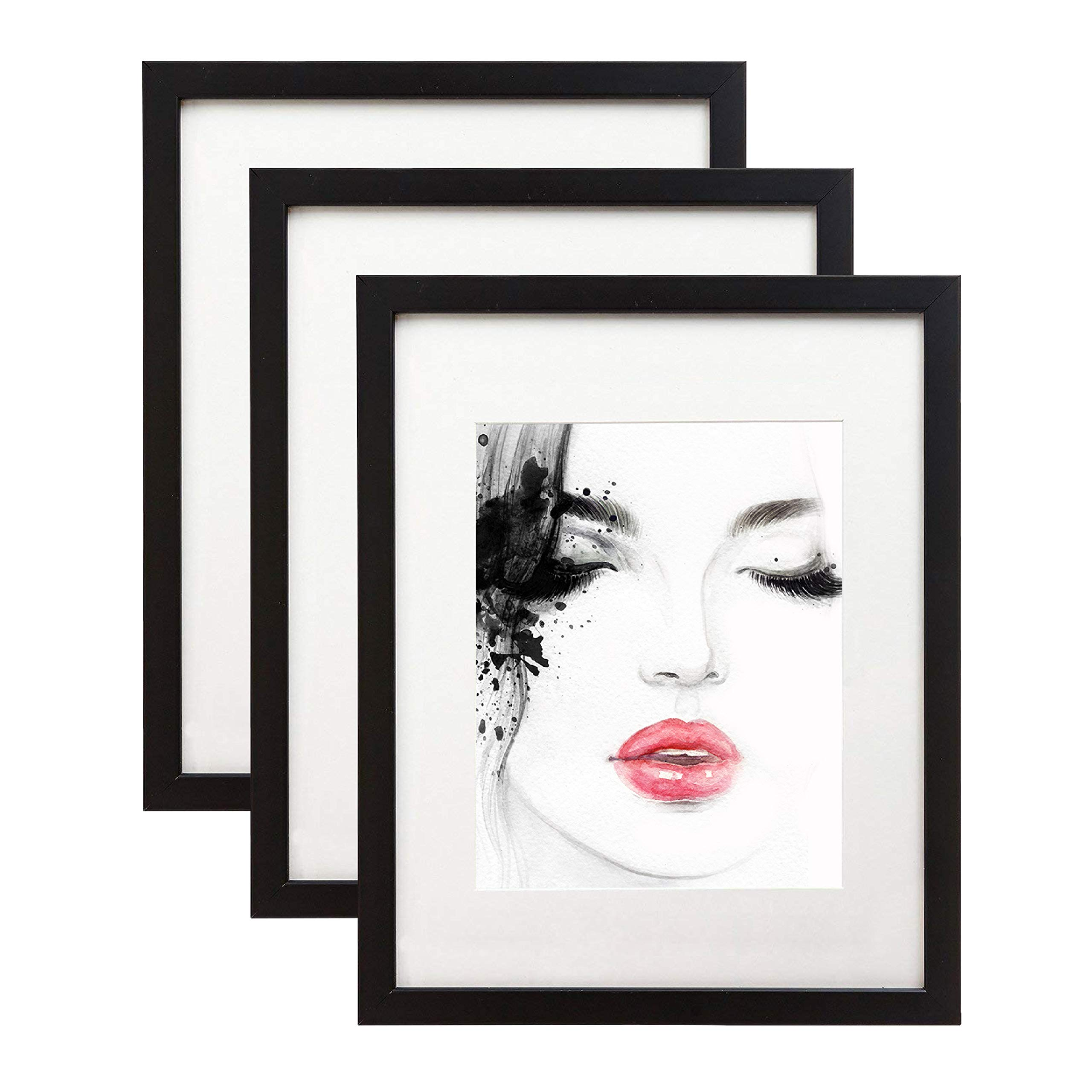 elabo 11x14 Black Picture Frame (3 Pack) - High Definition Plexiglass Display Pictures 8x10 with Mat or 11x14 Without Mat - Vertical or Horizontal Wall Mounting by elabo