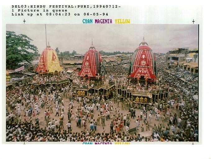 Vintage Photo Of Hindu Devotees Gather Around Massive Chariots The God Jagannath