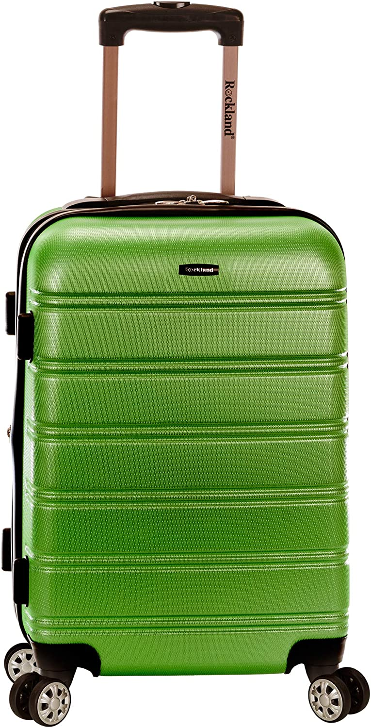 Rockland Melbourne Hardside Expandable Spinner Wheel Luggage, Green, Carry-On 20-Inch
