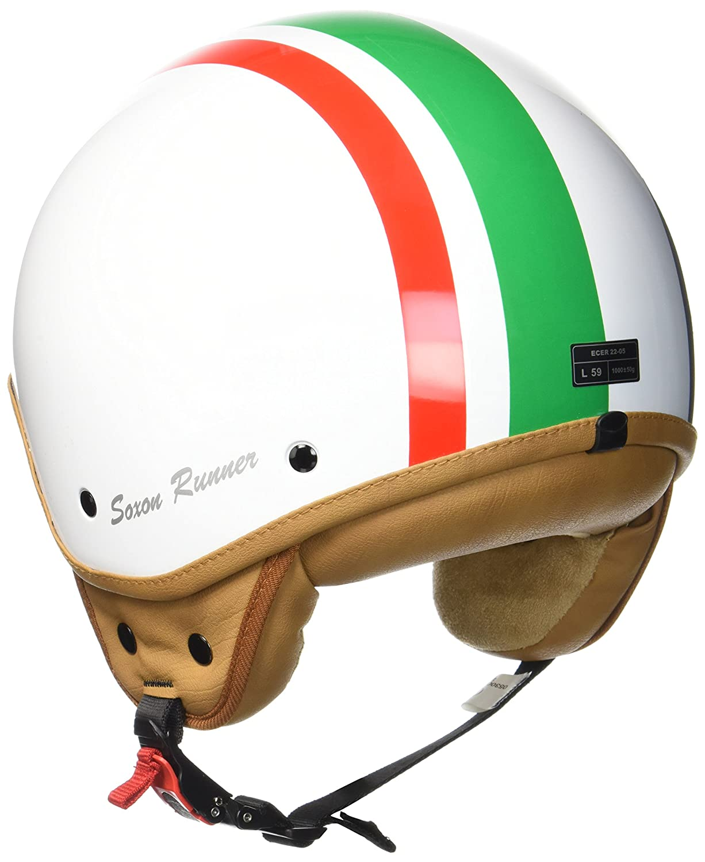 SOXON SP-301 Snow Motorrad-Helm Roller-Helm Jet-Helm Bobber Scooter-Helm Pilot Cruiser Vintage Mofa Chopper Helmet Biker Vespa-Helm Retro Snow Stofftragetasche ECE zertifiziert 59-60cm inkl Wei/ß L