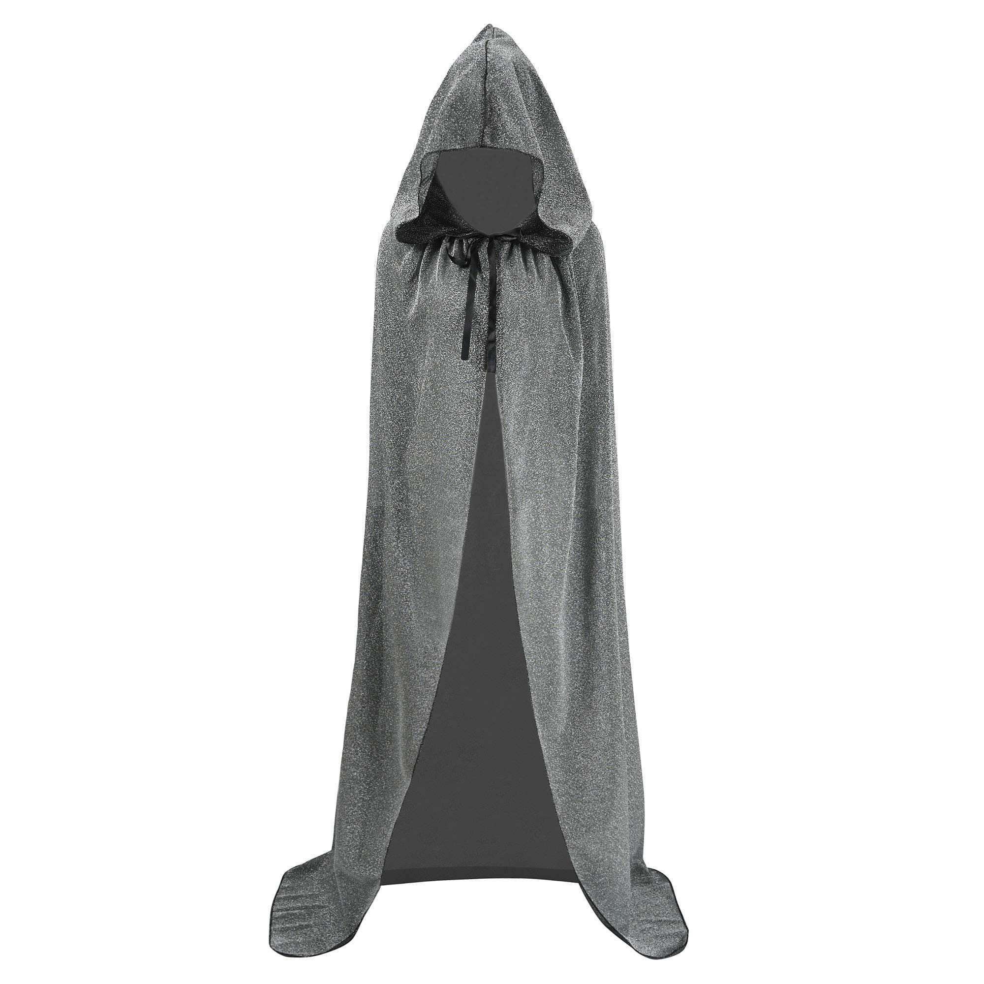 Unisex Halloween Cape Hooded Cloak Cosplay Christmas Party Adult Costume Outerwear (L, Silver)