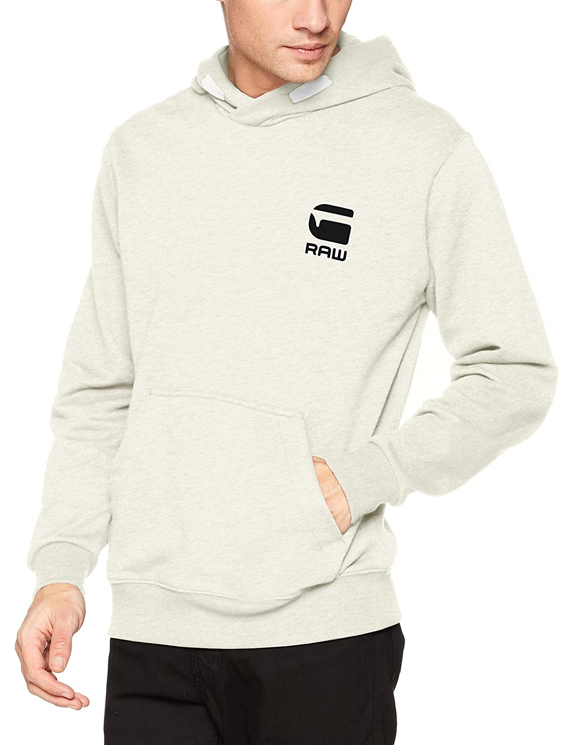 Doax Hooded Sw L/s, Capucha para Hombre, Blanco (White Htr 129), XX-Large G-Star